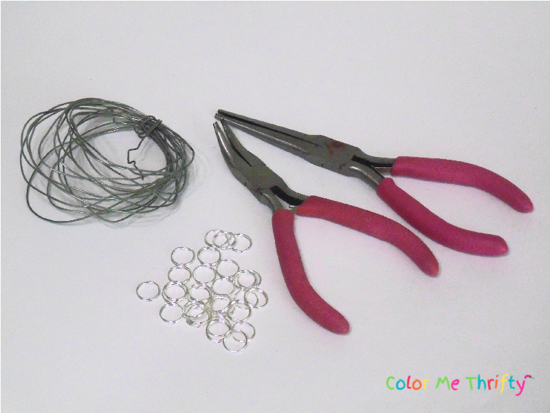 pliers, wire, and split rings used for wind chime proejct