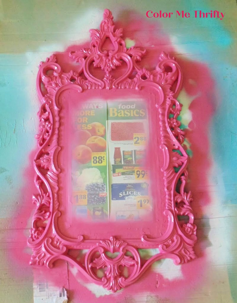 vintage gold mirror spray painted hot pink
