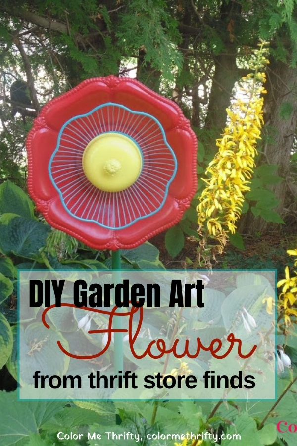 How to create a fun and funky garden art flower from inexpensive thrift store finds