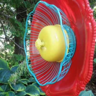 How to create a fun and funky garden junk flower from inexpensive thrift store finds