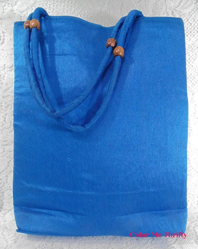 back of vintage colorful embroidered elephants tote bag
