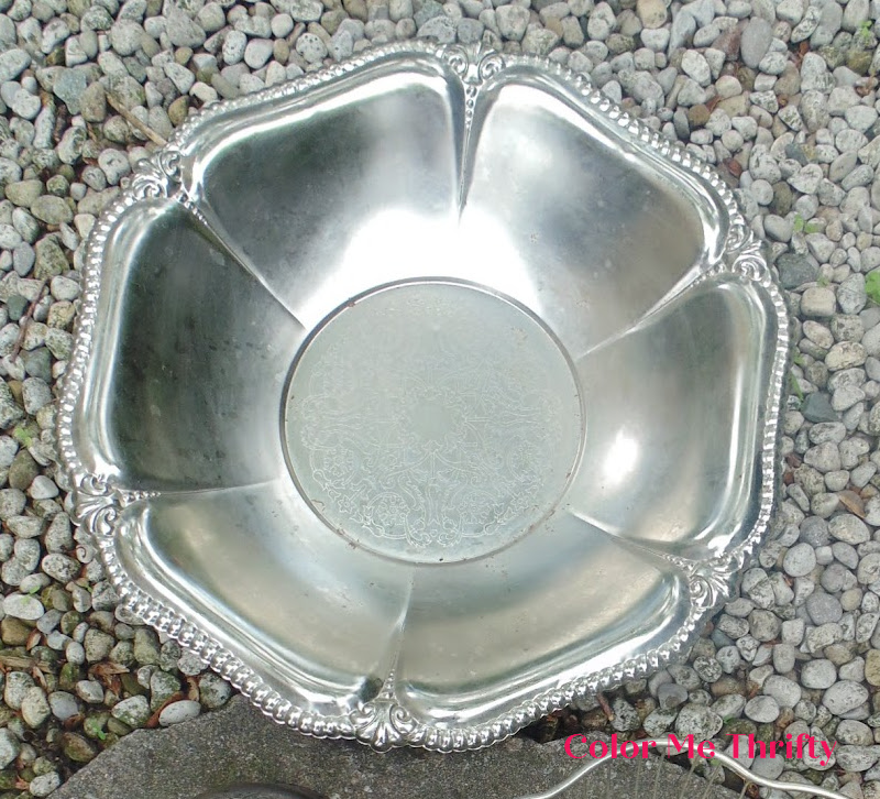 large flower shaped silver metal tray