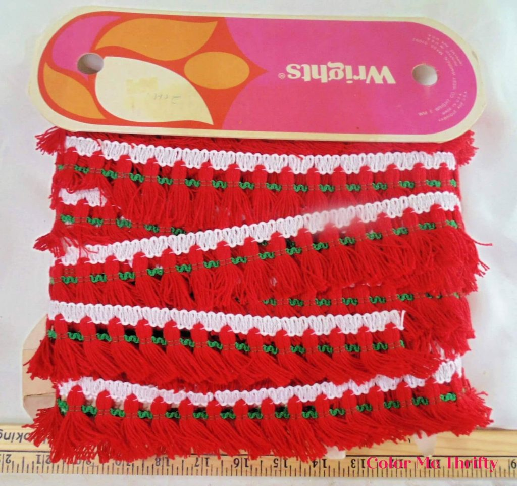 red and green fringe ribbon