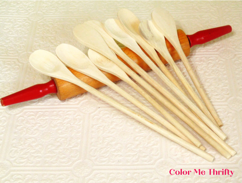 wooden spoons and rolling pin for diy wooden spoon wind chime project