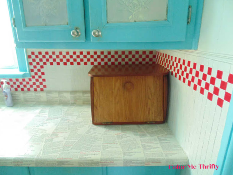 Before of wooden bread box before makeover 3