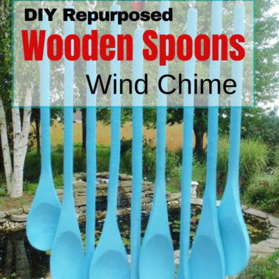 Create a fun DIY wooden spoons wind chime by repurposing a wooden rolling pin and dollar store wooden spoons