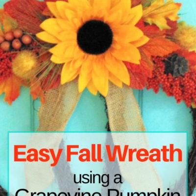 Create an easy fall wreath using a grapevine pumpkin form and some fall foliage