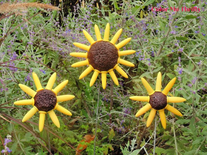 DIY Fall flowers from repurposed corn forks and styrofoam balls