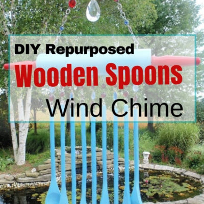 DIY repurposed wooden spoons wind chime using a wooden rolling pin and dollar store wooden spoons