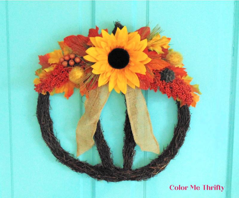 Easy 30 minute grapevine pumpkin wreath for fall door decor