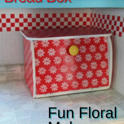 Fun and flowerful wooden bread box makeover with lace and spray paint