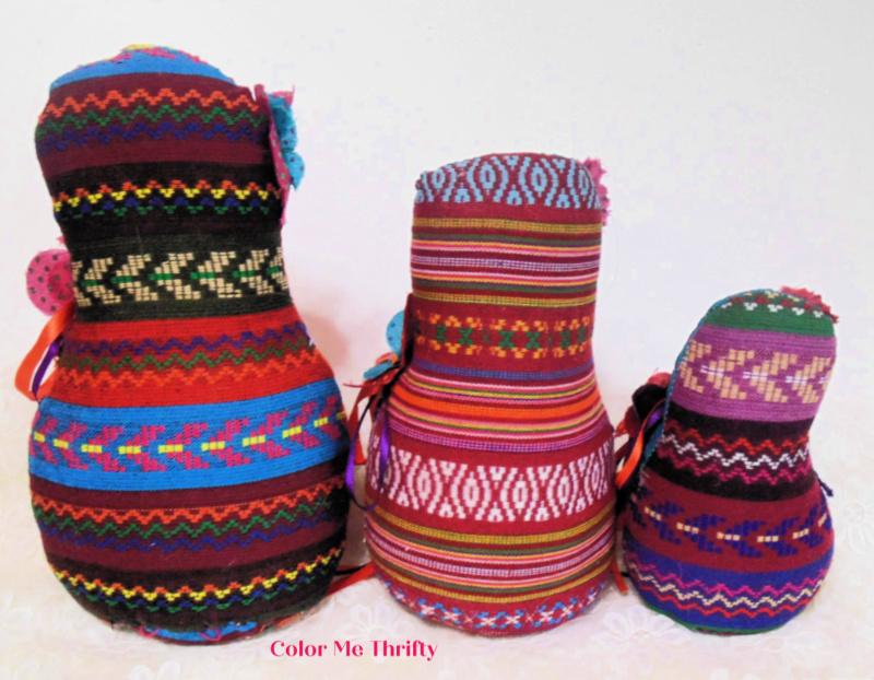 Handmade set of 3 Fabric Russian dolls back view