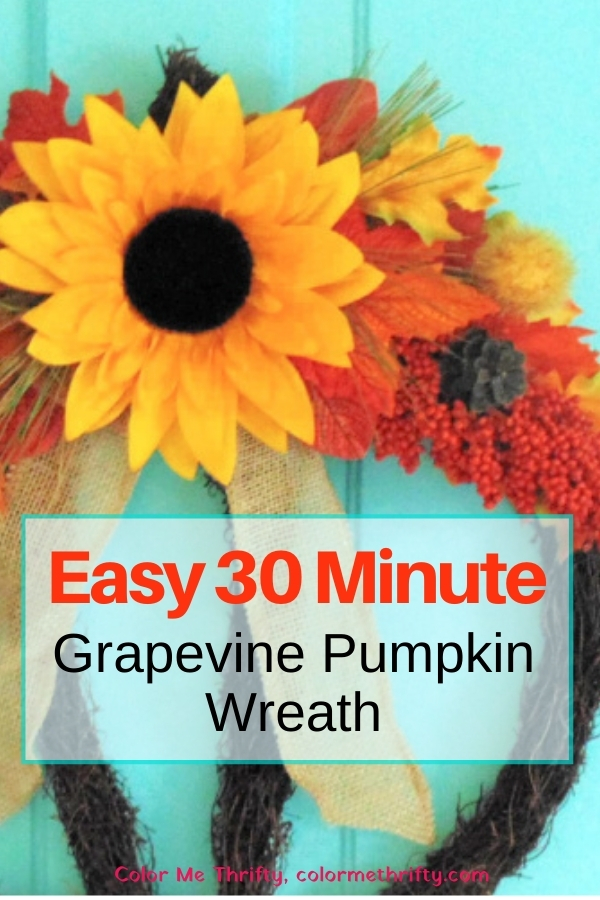 How to create an easy grapevine fall pumpkin wreath in just 30 minutes or less