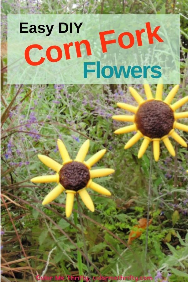 How to create easy DIY repurposed corn fork fall flowers for your garden