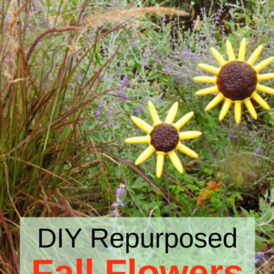 How to create fun and easy DIY repurposed fall flowers for your garden from corn holders