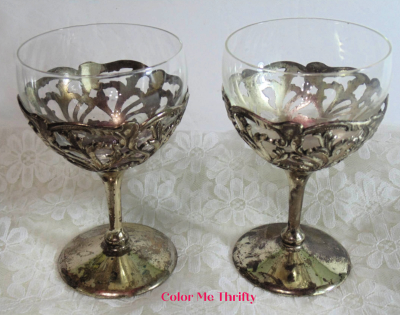 Pair of decorative vintage silver wine goblets with glass inserts