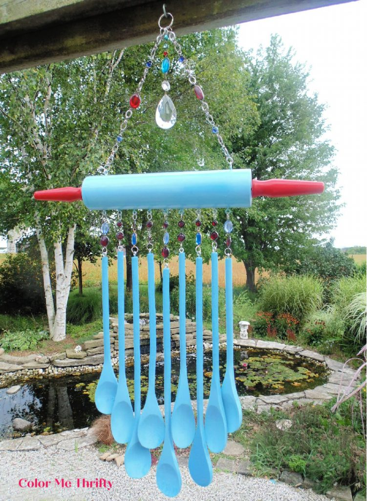 Repurposed wooden spoons wind chime with wooden rolling pin