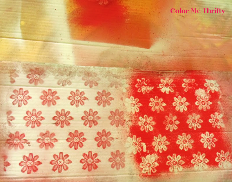 tests of spray paint techniques white on red and red on white