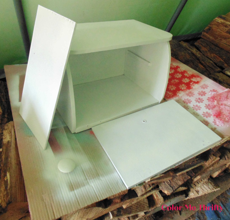 wooden bread box parts spray painted white