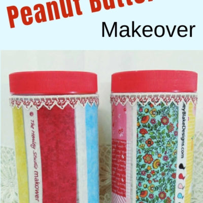 DIY Upcycled decoupaged peanut butter jars with fabric selvages