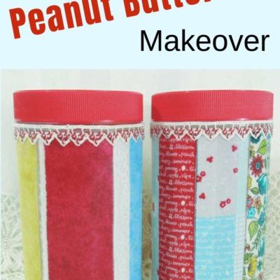 Decoupaged peanut butter jars using fabric selvages