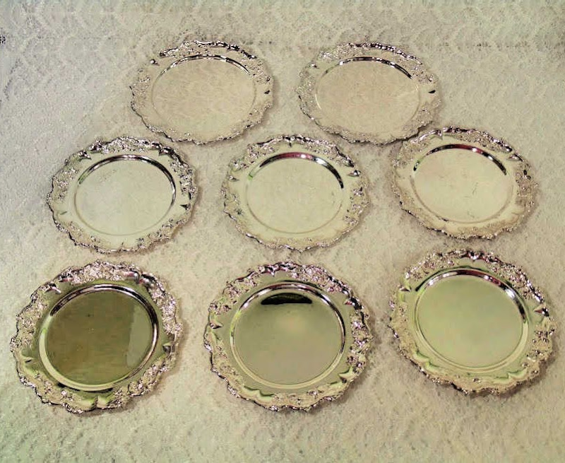 Set of 8 Silver Plate Germany coasters