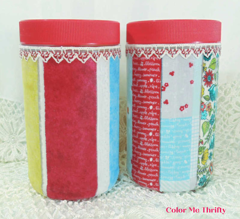 Upcycled peanut butter jars with decoupaged fabric selvages