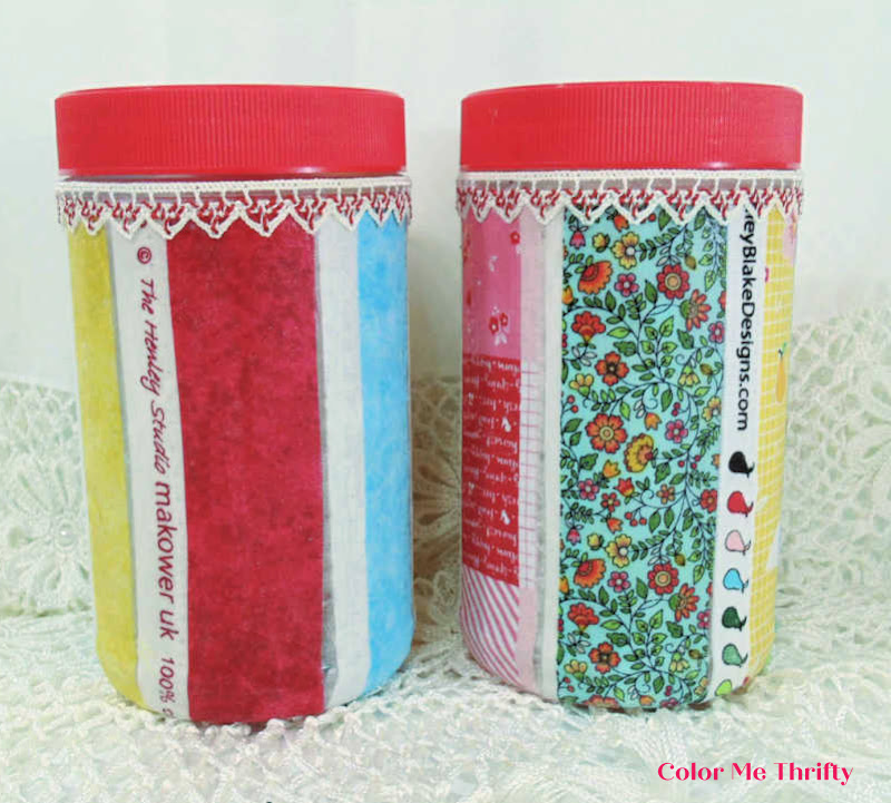 decoupaged peanut butter jars with fabric selvages